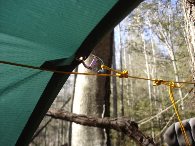 Tarp ridgeline utilizing prusik knot and clip