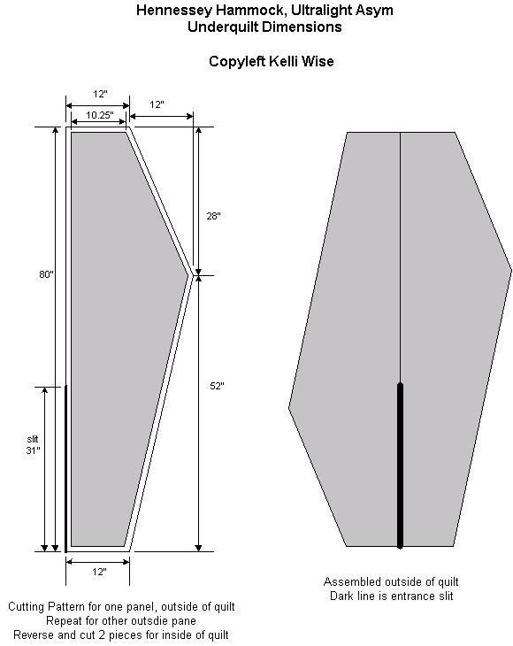 Hammock Underquilt Pattern Underquilt Quick Pattern
