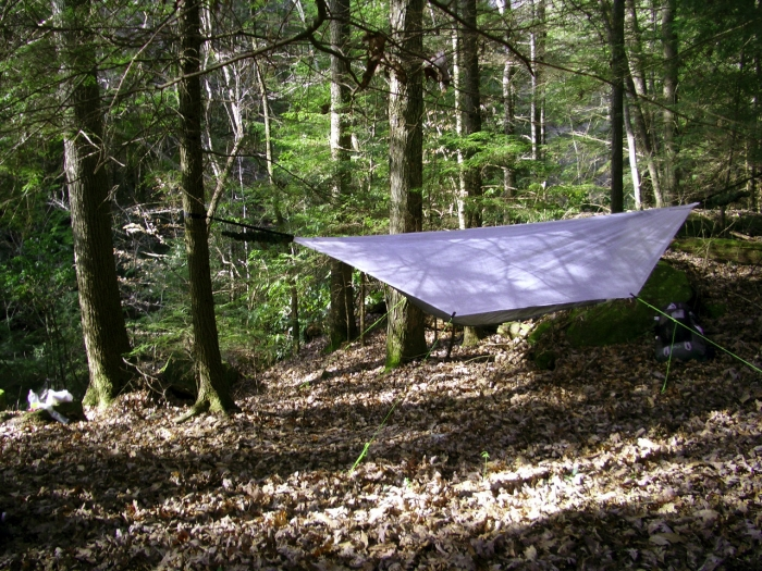 Cuben tarp in use