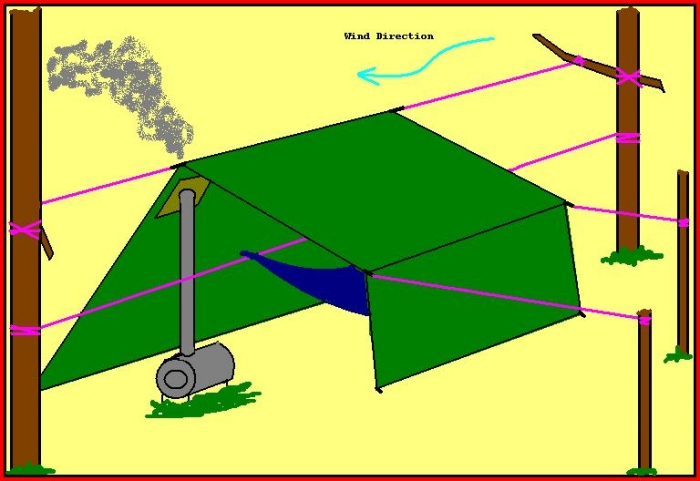 concept hammock tarp - with wood stove