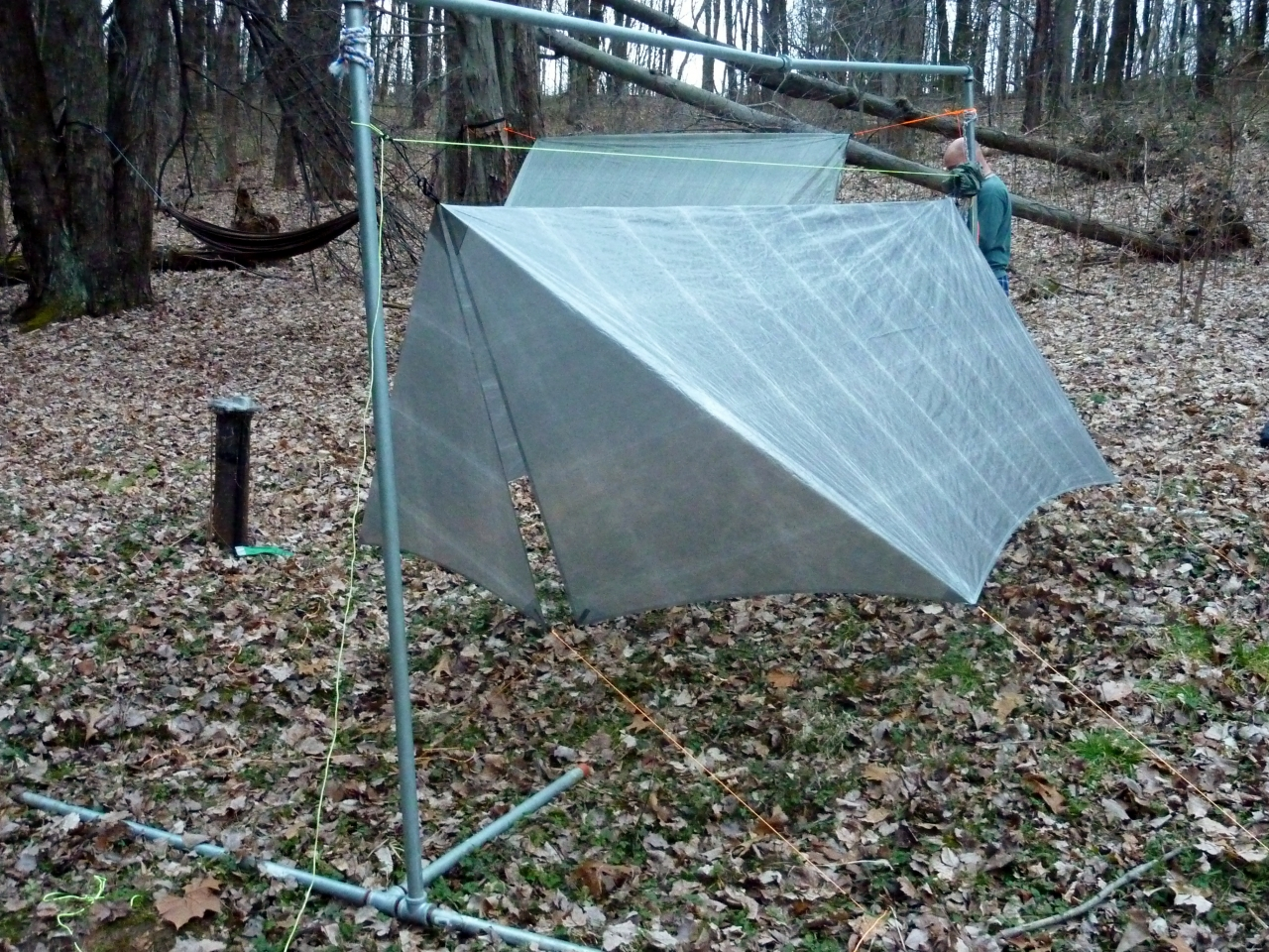 this pic is the first time i pitched this   it only gets tighter   the doors work great  cuben fiber tarp w doors  rh   hammockforums