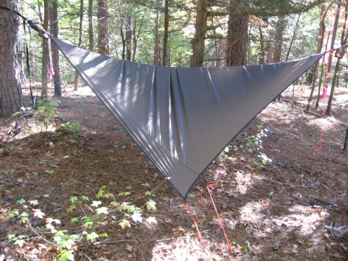 hammock out of skins and pulled down tight with bungees