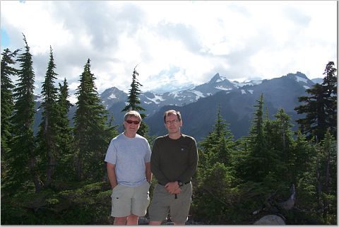 Tom and Bill at 5000 foot level with 10800 ft. Mt.Baker behind them