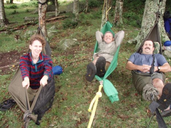 three happy hammockers