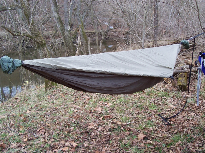 Hennessy Hammock with top cover installed 2