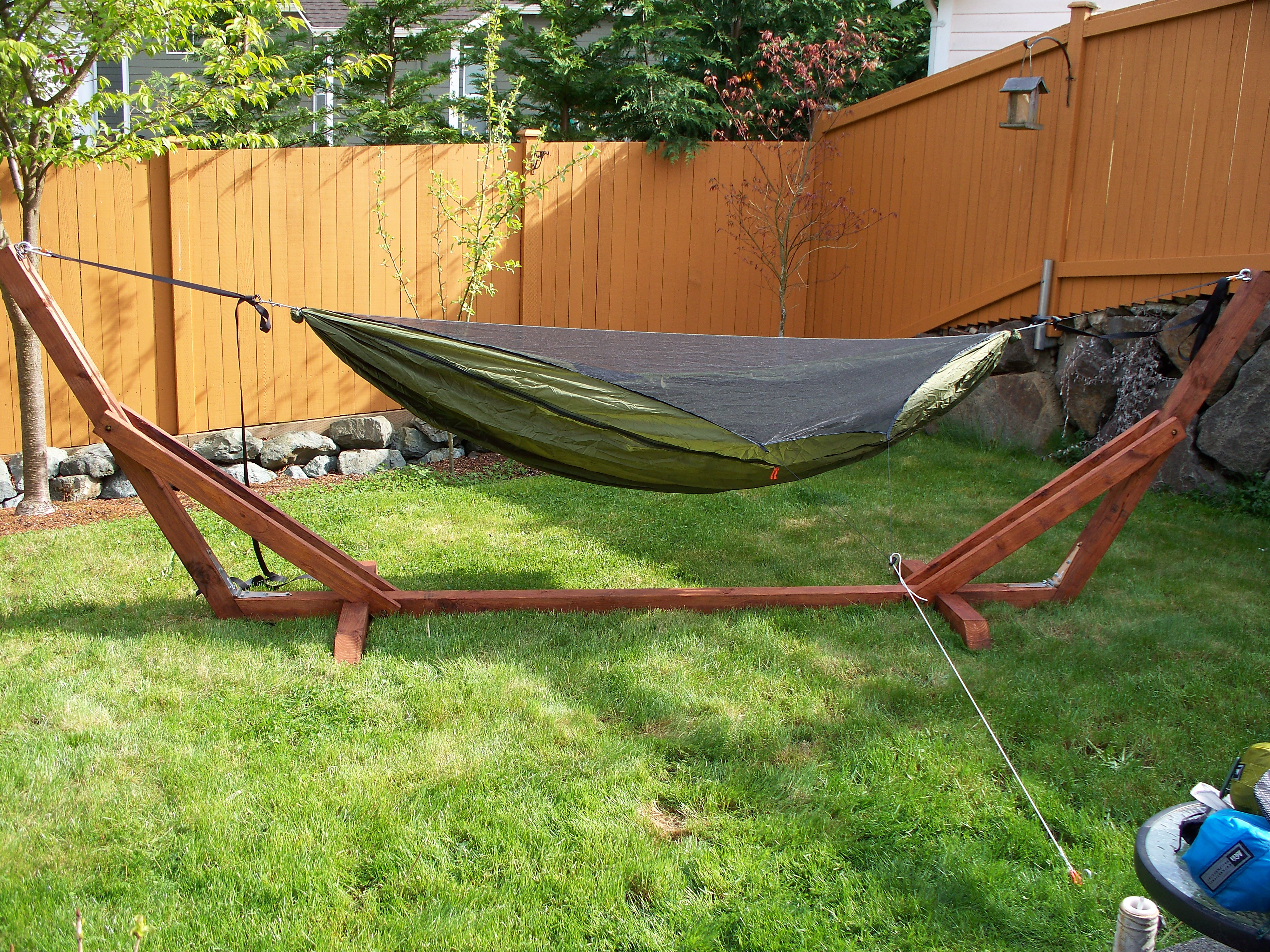 wooden stand bunnings hammock frame swing interior pole australia