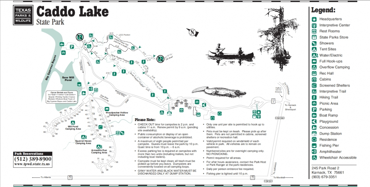 Caddo Lake State Park Campsite Map
