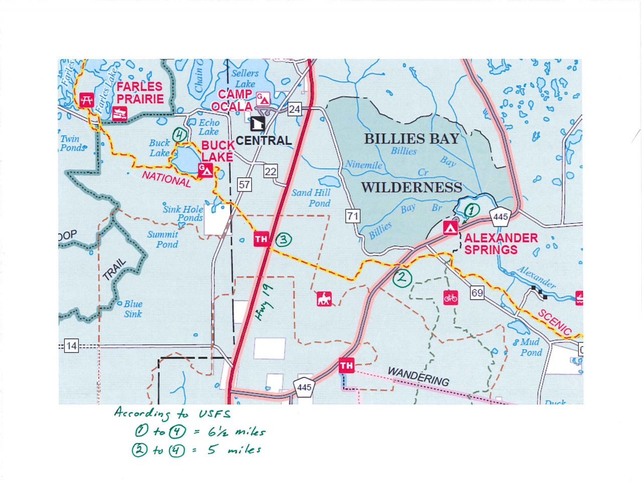 Buck Lake Florida Hang Hiking Map