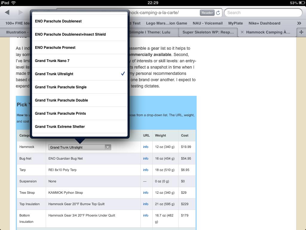 Hammock Comparison Chart Working On The Ipad