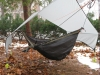 looser fit of tarp around bridge hammock
