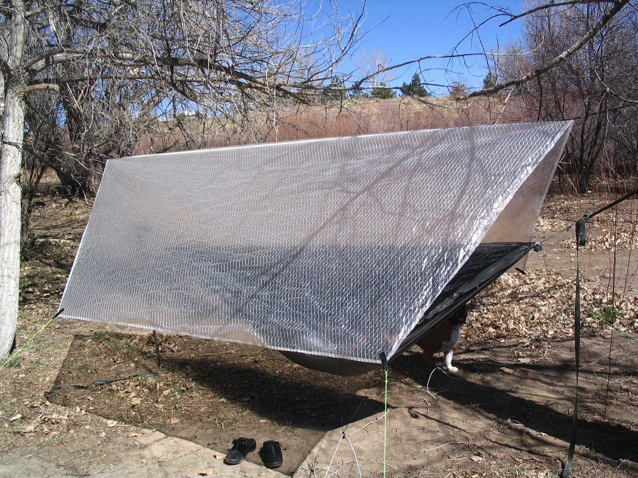 Under $10 Camping Shelter 1 Mylar blanket , Cordage and Painters ...