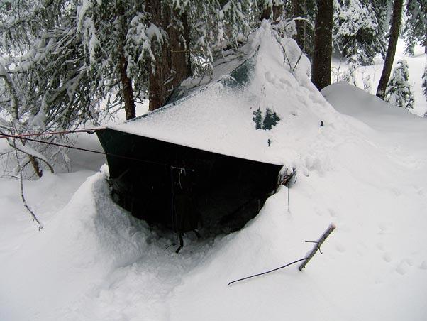 Snow walls around tarp