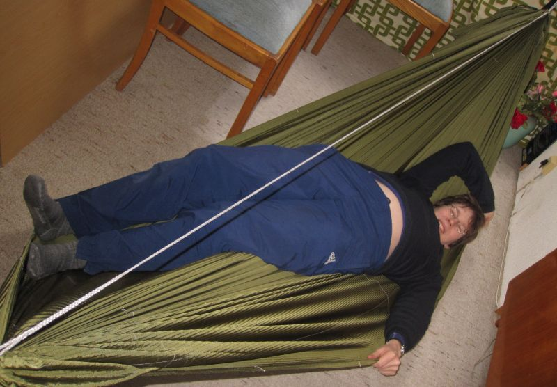 the concept only works when you use ridgid material or make the fabric more ridgid by e g  adding a pad  there are two  mercial hammocks that use this     hammock design   tailoring the shape to achieve a flat lay   page 2  rh   hammockforums