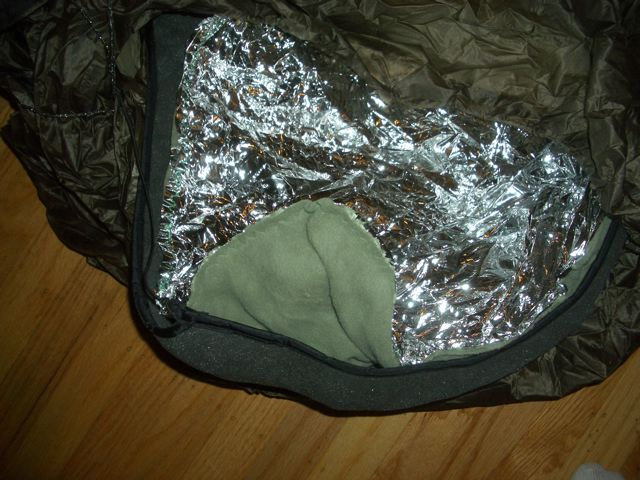fleece and emergency space blanket liner
