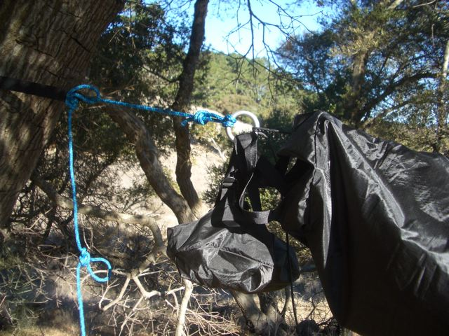 Using a compression sack for hammock storage