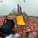 Breakfast nook under tarp