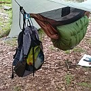 Hanging pack from hammock