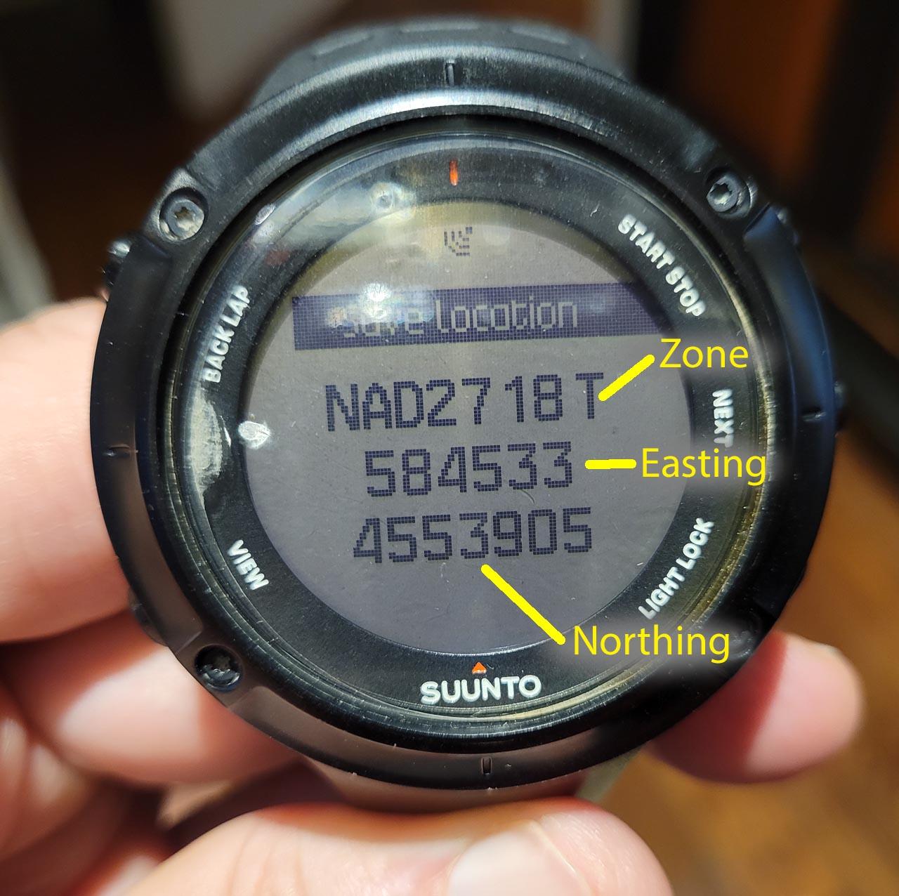 UTM coordinates GPS watch