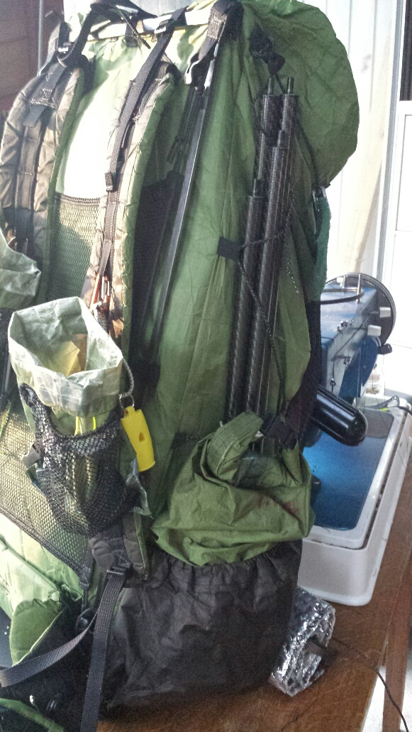 Carbon Spreader poles in Zpacks Arctic Blast 60